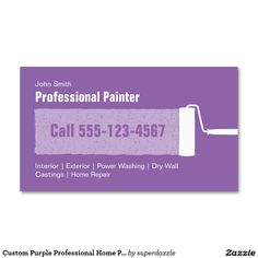 Custom Purple Professional Home Painting Business Card Template. A simple and elegant business card that is fully customized. You can change all colors of texts and background to make them perfect for your taste. Features a painting roller brush and is great for professional interior/exterior house painters, contractors, remodeling, maintenance ,residential companies. It's also great for a handyman business.
