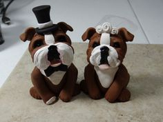 REDUCED Bulldog Cake Topper with Free by ClayCreationsbyLaura, $50.00