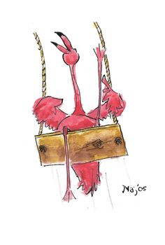 flamingo on a swing by ~shortthing on deviantART