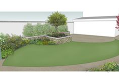 owenchubbland Dublin Ireland Design concept for a garden makeover in featuring sweeping curvolinear patio raised planters and lawn Front Yard Walkway, Garden Makeover, Raised Planter, Dublin Ireland, Landscape Architecture, 3 D, Lawn, Garden Design, Planters