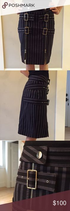 🎉NEW YEARS FLASH SALE🎉Striped Skirt w/ Buckles Black and Plum(ish) striped skirt with snaps, buckles at front and zipper details. Fits straight to the knees. Material: Blend of Cotton, Wool & Polyester. LOVE this sassy skirt! Marc Jacobs Skirts Pencil