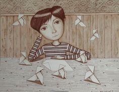 Lápiz y tinta, niño y pajaritas de papel
