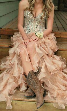 Peach & Lace is very elegant w the boots!