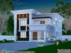 4 bedroom 2060 sq ft Arabian style home design is part of House design - 2060 square feet 3 bedroom Arabic model house in Kerala by Dream Form from Kerala Modern Exterior House Designs, Classic House Exterior, Modern Small House Design, House Outside Design, House Front Design, 2 Storey House Design, Bungalow House Design, Interior Modern, Home Interior