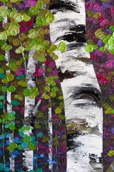 Colourful Acrylic Autumn Birch Aspen Tree Painting on Canvas by ...