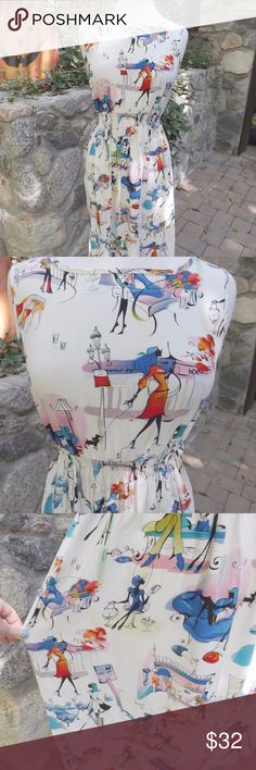 """Novelty print vintage dress! Love is... A well made, maybe hand made dress! Vintage 1980's is my guess, slips over the head, and has the cutest print. It feels like Rayon. B 34"""" W 24""""-30"""" H 48"""" L 43.5""""  This would be a medium.... Dresses Midi"""