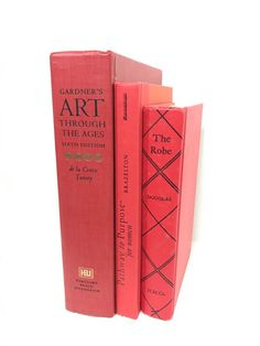 Red Decorative Book Set by ElementsByAmber on Etsy. Decorative Books. Check out vintage items to decorate shelves and mantels. Shelf Decor. Mantel Decor. Decorating shelves. Decorating Mantel.