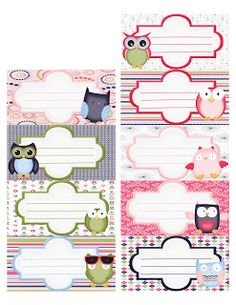 Planners and Journaling Printables❤ Free printable labels Notebook Labels, Printable Lables, Printable Paper, Preschool Printables, Free Printables, Owl Labels, Etiquette Vintage, Owl Classroom, School Labels