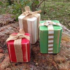 Wooden Presents Rustic Christmas The Rustic Acre College Station Texas Rustic Home Decor Custom Furniture Wooden Christmas Decorations, Christmas Wood Crafts, Farmhouse Christmas Decor, Outdoor Christmas, Rustic Christmas, Christmas Projects, Christmas Home, Holiday Crafts, Christmas Ornaments