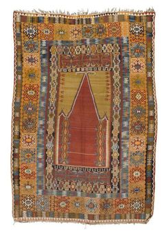 Red mihrab with green spandrels, wide border in yellow with stylized flowers, good condition, cm. Prayer Rug, Turkish Rugs, Magic Carpet, Kilims, Carpets, Dachshund, Bohemian Rug, Medieval, Prayers