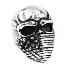 "Heavy Steel Jewelry-Sormus ""Large Heavy American Flag Mask Skull Biker Ring"""