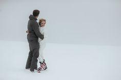 Matt Shumate Photography at Schweitzer Mountain Resort winter wedding whitewash wedding snow fashion style bride and groom portrait ski suit