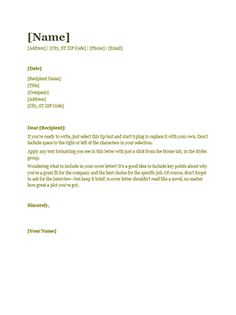 Itu0027s Easy To Create A Professional Looking Cover Letter With This Template.  Find The Matching Resume For A Polished Look.