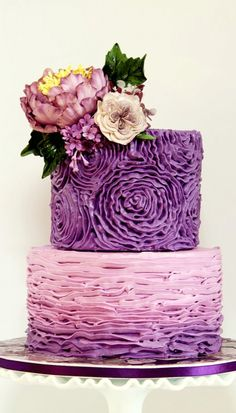 Buttercream Purple Ombre Cake nice for a shower