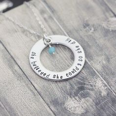 Hand stamped #Inspirationalnecklace, she believed she could so she did, silver washer charm, custom engraved necklace by InspiredByBronx on Etsy https://www.etsy.com/listing/454856604/hand-stamped-inspirational-necklace-she
