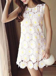 Women's Stylish Lace Flower Splicing Jewel Neck Sleeveless Dress