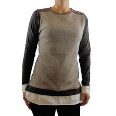 Camiseta mujer canale beige falsa camisa