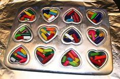 Heart shaped pan or Muffin pan crayons, Add broken crayons to greased pan. Bake at 250 for 15 mins. Let cool. Color!