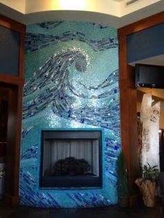Ocean Mosaic Fireplace