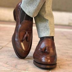 Brown+Leather+Tussles+Loafer+Shoes+for+Men's upper+material+Suede+ sole+leather+ interior+soft+leather color+Brown Contact+for+other+colors brown+burgundy+navy+blue lease+select+your+size+according+to+given+size+chart+next+to+pictures Mens Leather Loafers, Loafers Men, Leather Men, Leather Tassel, Soft Leather, Mens Tassel Loafers, Brown Leather Shoes, Der Gentleman, Gentleman Shoes