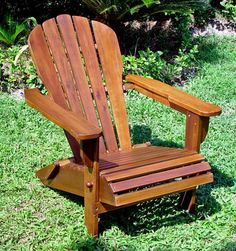 ---  - |-   Constructed with a sturdy wooden frame    . - |-   Classic Adirondack style with a brown finish    . - |-   Convenient folding design    . - |-   Comfortable armrests    . - |-   Great addition to any backyard, porch, or poolside    . - |-   Measures 33 inches high x 29 inches wide x 38.5 inches deep    .