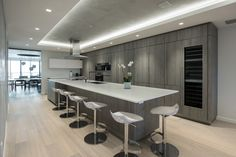 Monochromatic Sleek Snaidero Kitchen Idea In Hampton Gray And White  Melamine | Coral Gables, Florida
