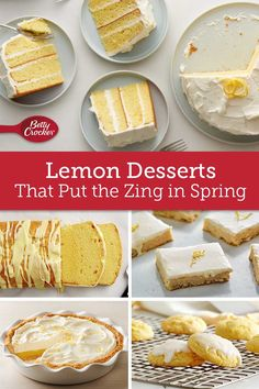 Whether it's classic recipes like our Luscious Lemon Squares or showstopping centerpieces like our Lemon Curd Tart, this simple citrus fruit is a key ingredient in putting some zing into anything. Spring Desserts, Lemon Desserts, Cookie Desserts, No Bake Desserts, Easy Desserts, Delicious Desserts, Baking Recipes, Cake Recipes, Dessert Recipes