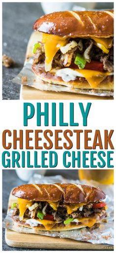 Combine the best of Philly into one ultimate sandwich! A Philly Cheesesteak and a Philly Soft Pretzel collide to create the best Philly cheesesteak recipe - the Philly Cheesesteak Grilled Cheese Sandwich! Best Philly Cheesesteak, Cheesesteak Recipe, Fun Easy Recipes, Wrap Recipes, Easy Meals, Sandwich Recipes, Lunch Recipes, Veggie Sandwich, Wrap Sandwiches