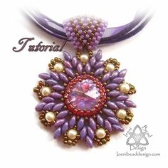 This is a tutorial pattern in PDF format. You are not purchasing the pendant with this listing. A gorgeous flower pendant, with a central crystal