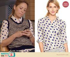 Julia's apple print shirt on Parenthood. Outfit Details: http://wornontv.net/22069 #Parenthood