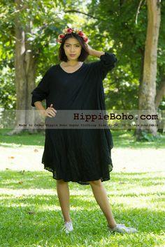 No.2  - Size XS-5X Hippie Boho Bohemian Gypsy Black Long Sleeve Tunic Plus Size Dress Lightweight Cotton