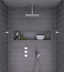 bathrooms - ensuite - shower nook - rainhead - dark tiles - Google Search