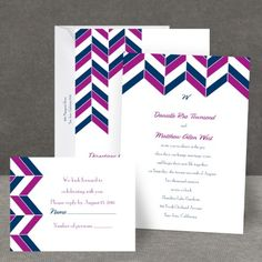 Chevron Charm - All in One Wedding Invitation at Invitations By Dawn