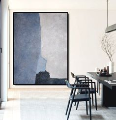 Large Abstract Art Oil Painting Canvas Art, Contemporary Art Hand Painted Abstract Painting, Black Blue Grey. by FabuArtDecor on Etsy https://www.etsy.com/listing/228839512/large-abstract-art-oil-painting-canvas