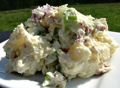 This is from Donna at the All Recipes web site.  This is my FAVORITE potato salad.  If you do not care for the tangy mustard flavor of regular potato salad, give this one a try.  It is creamy, with the taste of bacon, celery, and some onion.  It does have eggs, so its not a leave it out all day at a picnic salad.