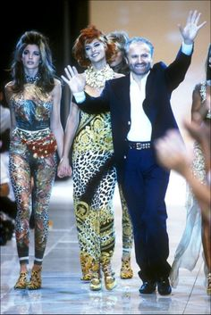 Stephanie and Linda with Gianni Versace