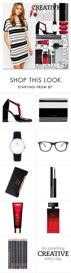 """Minimalism"" by cilita-d ❤ liked on Polyvore featuring Dorateymur, Diane Von Furstenberg, Horace, NYX, Elizabeth Arden, NARS Cosmetics, black, dress and strips"
