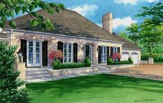 CUSTOM HOUSE PORTRAITS by RICHELLE FLECKE x watercolor home portrait of lovely stucco and brick residence in Ladue, Missouri given as a gift to homeowners from their daughter and son-in-law. Scenery Background, Art Ideas, Decor Ideas, Building Art, House Art, Take Me Home, Watercolor Portraits, House Painting, Custom Homes