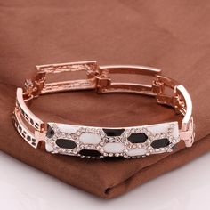 Bracelets Alloy Crystal Geometry Women Trendy Rose Gold Plated Figaro Chain 18cm