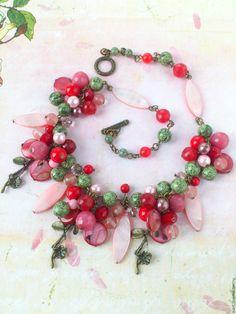 """Купить """"Цветущий сад"""" колье из натуральных камней. Розовое колье, бусы. - авторские украшения камни"""