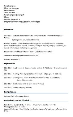 Flora Brangeon 18 ter rue du tenant 44120 Vertou 06 68 02 03 55 Flora-brangeon@orange.fr 19 ans Titulaire du permis B Site professionnel: http://petitlien.fr/florabgea    Formation   2013-2015: Etudiante à L'IUT Gestion des entreprises et des administrations (GEA)...