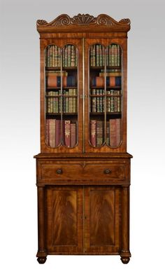 Regency mahogany secretaire bookcase. C1835