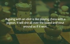 Arguing with an idiot is like playing chess with a pigeon. It will shit all over the board and strut around as if it won.