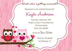 Love owl on branch bridal shower / wedding invitation with woodgrain background. Comes in many colors: pink, blue, green, khaki, baby pink. Owl Shower, Shower Ideas, Cute Wedding Ideas, Wedding Fun, Wedding Stuff, Wedding Shower Invitations, Invites, Printable Invitations, Printables