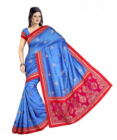 Blue Bhagalpuri Saree With Blouse 60065