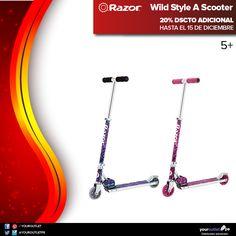 """Razor Wild Style Scooter. Diversión con estilo y diseño tipo graffiti para el verano. 20% dscto adicional en nuestro showroom 3006 en Compupalace o comprando en nuestra página web. Acplica el código """"RAZOR20"""" en """"Vales de descuento"""" antes de confirmar el pedido."""