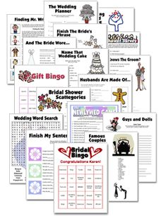 Free Bridal Shower Party Games for Bachelorette and Wedding Parties