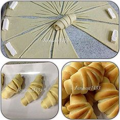 "Borekler ""Croissant Presentation - Illustration ONLY"", ""Pin by *** *** on Backen"" Bread Recipes, Cooking Recipes, Pancake Recipes, Pastry Design, Bread Shaping, Bread And Pastries, Food Decoration, Arabic Food, Creative Food"