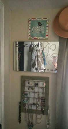 jewelry holder - necklace holder wall mirror