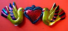 Mexican Designs, Mexican Folk Art, Sacred Heart, Art Google, Design Inspiration, Candles, Christmas Ornaments, Holiday Decor, Crafts